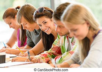examen, escuela alta, estudiantes, estudio, escritura,...