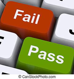 examen, exposición, llaves, falle, resultado, pase, prueba, o