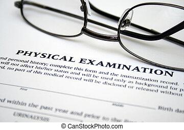 examen, formulaire, physique