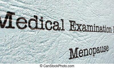 examen médical, ménopause