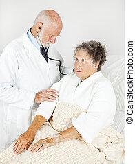 examen, minutieux, monde médical