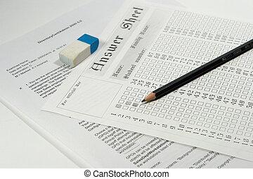examen, papper