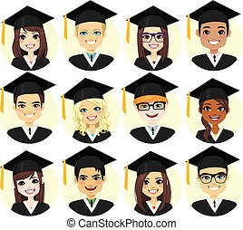 examen, student, samling, avatar
