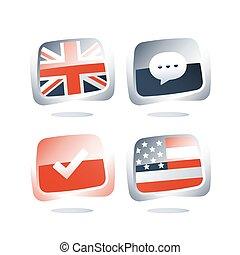 examen, usa, anglaise, britannique, langue, préparation, américain, programme, cours, ligne, essai, drapeaux, linguistic, apprentissage