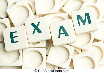 examen, woord, gemaakt, door, leter, stukken