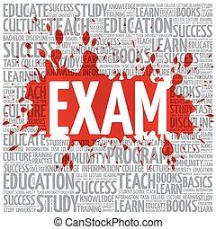 examen, woord, wolk, opleiding, concept
