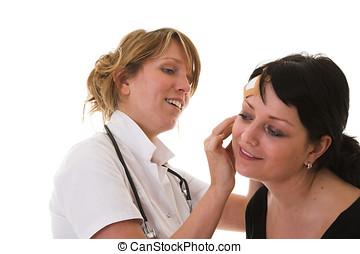 examening, a, paciente