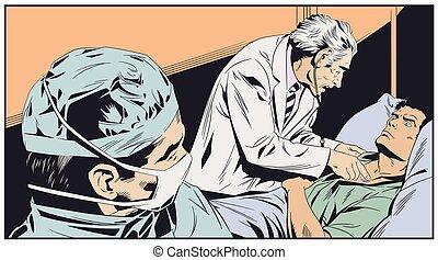 examina, illustration., doutor, idoso, man., estoque