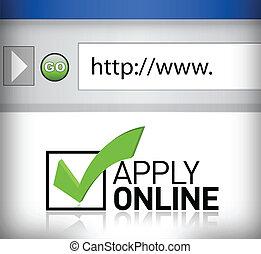 examinador, ventana, aplicar, en línea