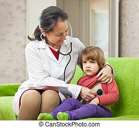 examinando, doutor, crianças, criança, estetoscópio