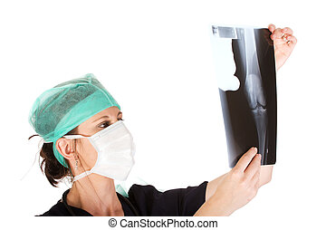 examinando, doutor, jovem, femininas, caucasiano, raio x