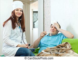 examinando, doutor, paciente