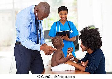 examinando, doutor, pediátrico, criança