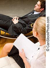 examinando, macho, paciente, psiquiatra