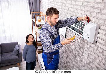 examinando, multímetro, ar, digital, técnico, condicionador