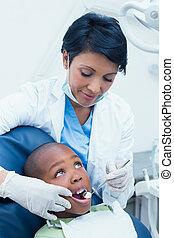 examinando, odontólogo, dentes, femininas, meninos