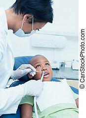 examinando, odontólogo, dentes, femininas, meninos, dentistas presidem