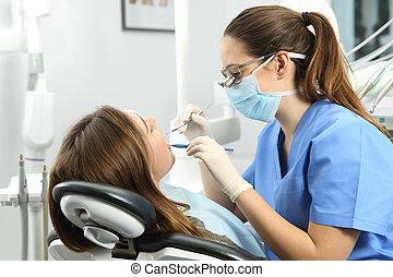 examinando, odontólogo, paciente, dentes