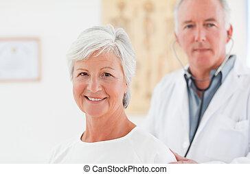 examinando, seu, paciente, doutor