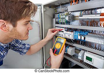 examinando, testador, fusebox, resistência, técnico, isolação