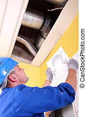 examinando, ventilação, sistema, engenheiro