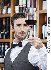 examinando, vinho, bartender, vermelho, confiante