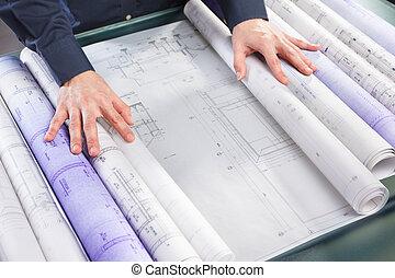 examinar, arquitectura, cianotipo