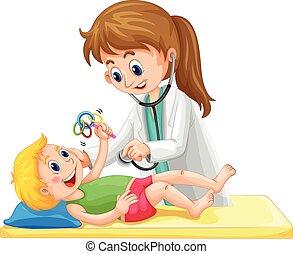 examinar, bebé, doctor, niño