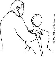 examinar, bosquejo, paciente, contorno, doctor, plano de fondo, líneas, aislado, ilustración, espalda, vector, estetoscopio, hembra, dibujado, blanco, mano, negro