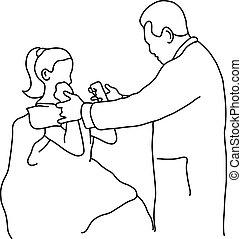 examinar, bosquejo, paciente, contorno, doctor, plano de fondo, líneas, aislado, ilustración, mano, coyuntura, vector, hembra negra, rodilla, dibujado, blanco