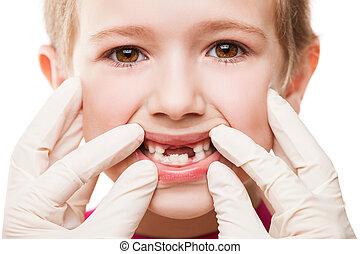 examinar, dentista, niño, dientes