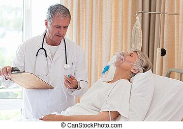 examinar, el suyo, paciente, doctor