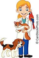 examinar, mascotas, hembra, caricatura, veterinario