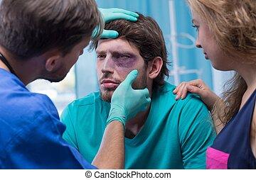 examinar, paciente, doctor