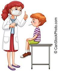 examinar, poco, doctor, enfermo, niño