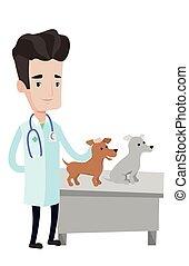 examinar, vector, veterinario, perros, illustration.