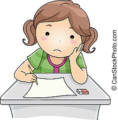 Illustration Featuring a Girl Looking Sad While Answering Test Questions