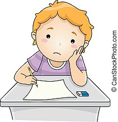 Examination Blues - Illustration Featuring a Boy Looking at...