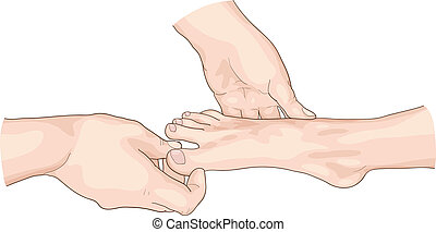 Examination of the foot.