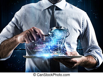 Examine a computer tablet