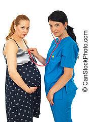examine, doutor mulher, grávida
