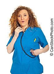 examine, mulher, mesma, espantado, doutor