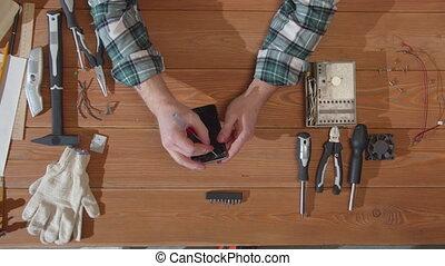 examine, réparateur, téléphone, écran, cassé