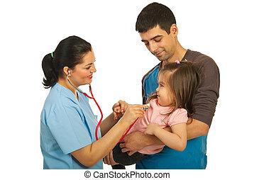 examine, toddler, menina, doutor
