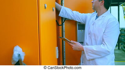 examiner, 4k, entrepôt, électrique, robotique, panneau,...