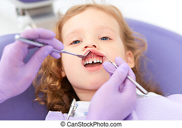 examiner, dentiste, lèvre, sous