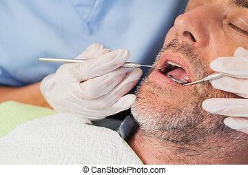 examiner, dentistes, dentiste, malades, dents, chaise
