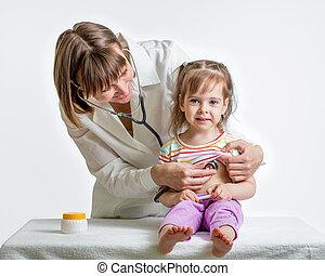 examiner, docteur, isolé, enfant, girl, blanc