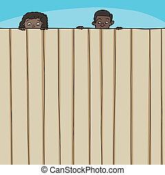 examiner, enfants, barrière