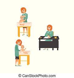 examiner, ensemble, isolé, arrière-plan., pédiatre, femme, bébé, blanc